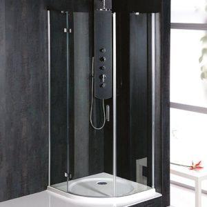 900x900mm, R550, левая,овал, прозрачное стекло