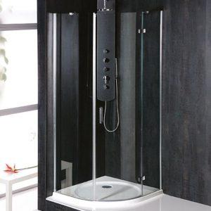 900x900mm, R550, правая,овальная.прозрачное стекло