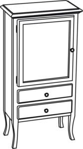 RETRO ШКАФЧИК 60x120x38cm, белый состаренный, левая