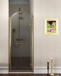 Душевые двери поворотные, 900мм, правый, ПРОЗРАЧНОЕ стекло, бронза