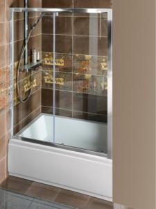душевые двери раздвижные 1400x1500mm, прозрачное стекло