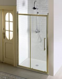 Душевые двери раздвижные,1400mm, ПРОЗРАЧНОЕ стекло, бронза
