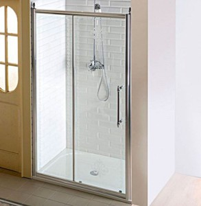 Душевые двери, раздвижные,1400mm, прозрачное стекло с декором, хром
