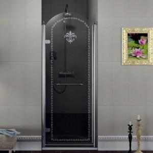 Душевые двери 800мм, левая, прозрачное стекло с декором, хром
