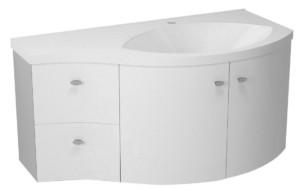 ТУМБА С УМЫВАЛЬНИКОМ 110x39cm, белый серебристый, выдвижные ящики слева