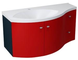 ТУМБА С УМЫВАЛЬНИКОМ 110x39cm, красный черный, ящик справа