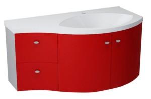 ТУМБА С УМЫВАЛЬНИКОМ 110x39cm, красный серебристый, выдвижные ящики слева
