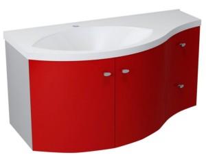 ТУМБА С УМЫВАЛЬНИКОМ 110x39cm, красный серебристый, выдвижные ящики справа