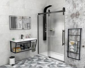 VOLCANO BLACK душевые двери 1600 мм, прозрачное стекло