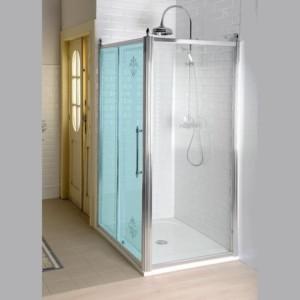 Боковая стенка 1000mm, прозрачное стекло с декором, хром