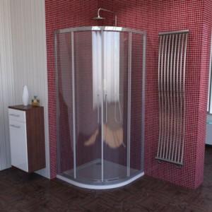 душ экран, 1000x1000mm, R550, прозрачное стекло