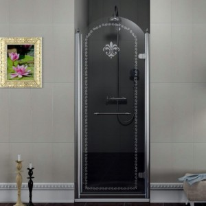 Душевая дверь 800 мм, правый, прозрачное стекло с декором, хром