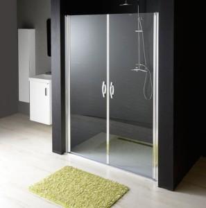 душевые двери в нишу двустворчатая 980-1020 мм, прозрачное стекло, 6 мм
