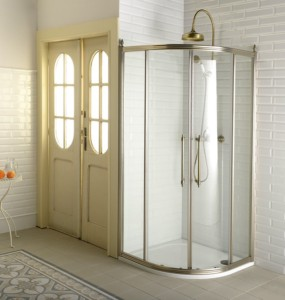 Угловая кабина 900x900, раздвижные двери двойные, прозрачное стекло, бронза