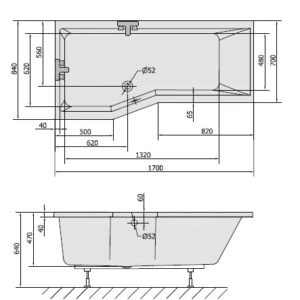 VERSYS 170x85x47 cm левая