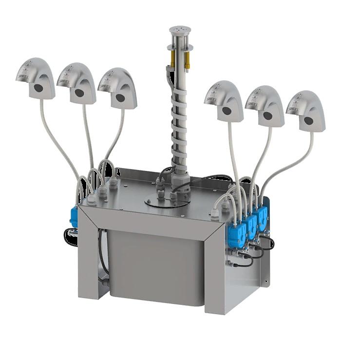 Комплект смесителей с инфракрасным датчиком для холодной или заранее смешанной воды с встроенным дозатором мыла
