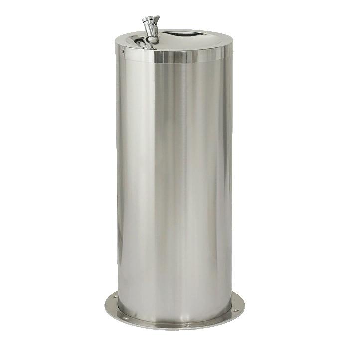 Питьевой фонтан из нержавеющей стали напольный диаметр 42 см высота 80 см и 65 см с нажимной подачей воды