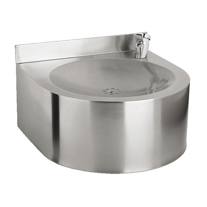 Питьевой фонтан из нержавеющей стали подвесной 35 х 35 см с нажимной подачей воды