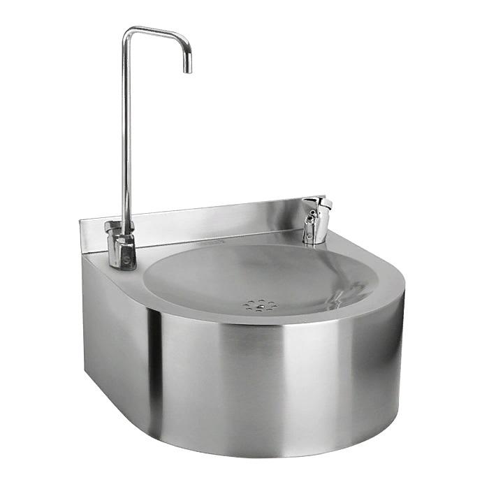 Питьевой фонтан из нержавеющей стали подвесной 35 х 35 см с нажимной подачей воды для налива емкости