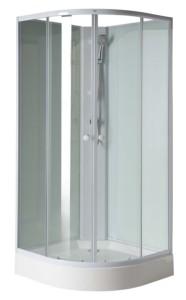 Угловая душ кабина 900x900x2060 мм, белый профиль, прозрачное стекло
